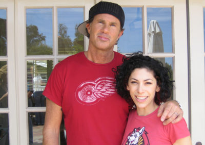 Jill with  the drummer of the Red Hot Chili Peppers Chad Smith. Chad is sporting a makeup look done by Jill!