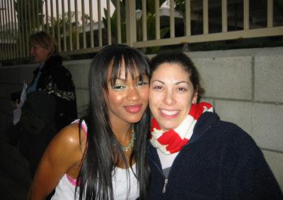 Jill with actress Meagan Good. Meagan is makeup ready thanks to Jill!