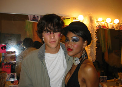 Jospeh-Gordon Levitt and Meagan Good on the set of Brick, sporting makeup looks done by Jill.