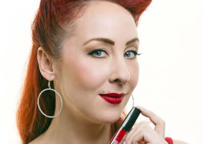 Burlesque performer Ruby Joule with Just Jill's long-wearing lipstick
