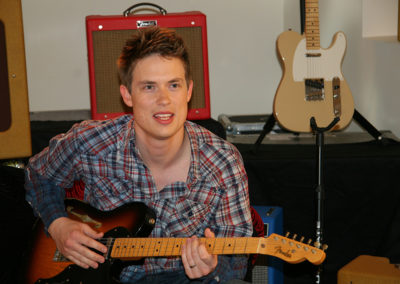 Jonny Lang  on set for a promotional photoshoot for Fender guitars. Makeup done by Jill!