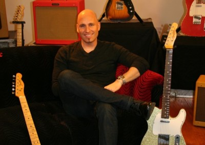 Matt Scannell of Vertical Horizon  on set for a promotional photoshoot for Fender guitars. Makeup done by Jill!