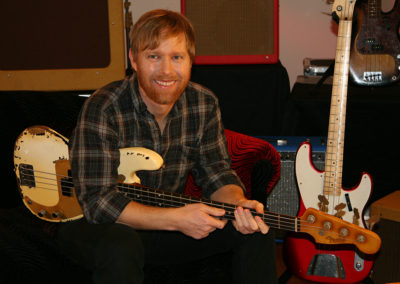 Nate Mendel of the Foo Fighters  on set for a promotional photoshoot for Fender guitars. Makeup done by Jill!