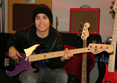 Pete Wentz of Fall out Boy  on set for a promotional photoshoot for Fender guitars. Makeup done by Jill!