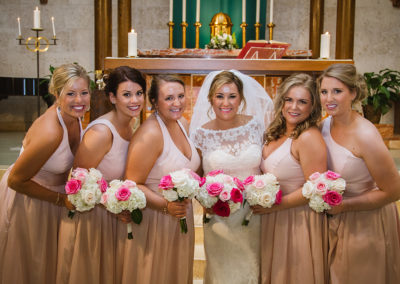 Wedding client Carolyn Lied with her bridesmaids. All bridal makeup looks here done by Jill!
