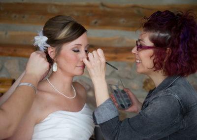 Jill hard at work on bridal makeup client Tanya Ault.